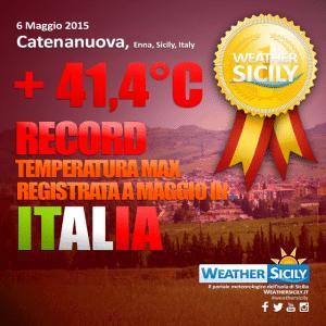 Sicilia boom! +41,4°C a Catenanuova: è record italiano