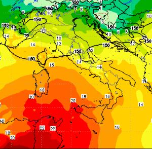 | Temperature quota 850hpa mercoledì 24 giugno |
