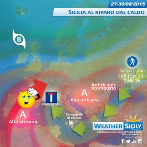 Sicilia, fine agosto con qualche disturbo su interne. Caldo contenuto
