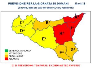 Protezione Civile: sabato 31 ottobre allarme rosso sul settore nord-orientale della Sicilia