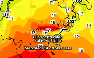 | Cuscinetto caldo sul nord Sicilia |