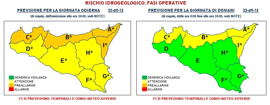   Allegato bollettino ufficiale Protezione Civile Sicilia  