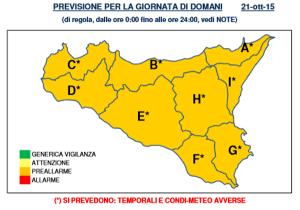 Sicilia, comunicato Protezione Civile: solo preallarme per mercoledì 21 ottobre