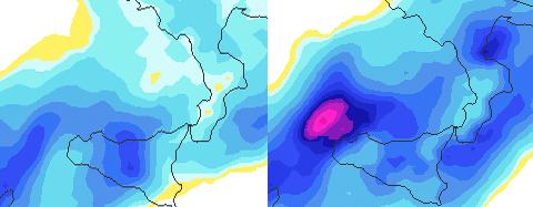 | Piogge di giorno 24 secondo il modello Gfs |