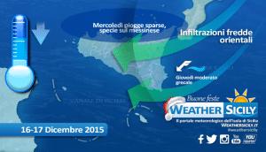 Sicilia: l'alta pressione non molla, ma insistono infiltrazioni fredde da nord-est