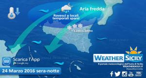 | Peggioramento di giovedì sera, grafica weathersicily.it |