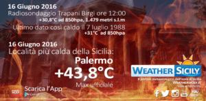 Gran caldo sul nord Sicilia: alle ore 11:00 Palermo va oltre i +42 gradi
