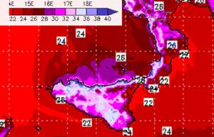 | Temperature previste giovedì a 2 metri |