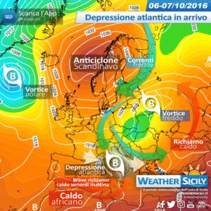 Sicilia, depressione atlantica guasterà il venerdì. Atteso maltempo sparso e forti venti