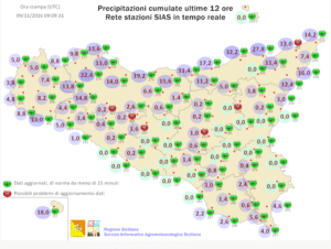 | Precipitazioni accumulate nelle ultime 12 ore, dati Sias |