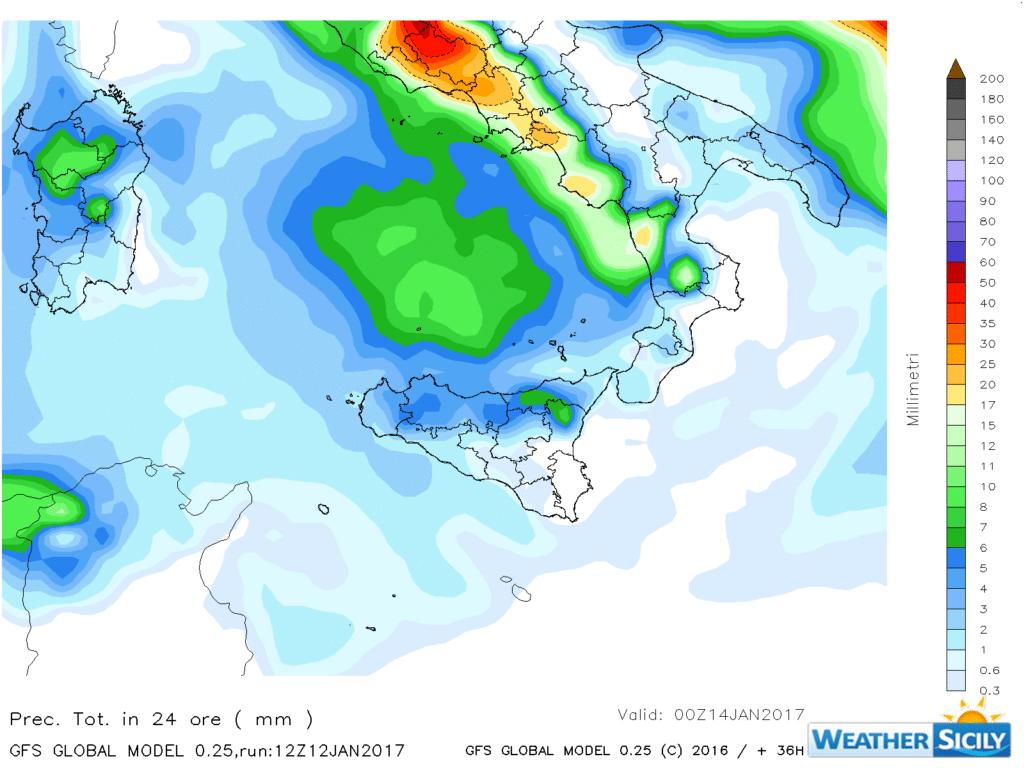 | Precipitazioni attese martedì 10 gennaio 2016, Gfs 0.25° by Weather Sicily |
