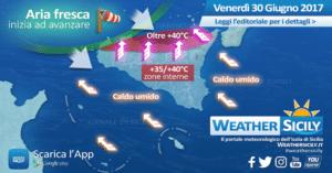 Sicilia: primo giorno di caldo africano, esordio infuocato. +44°C a SW di Siracusa, +40,7°C a Palermo