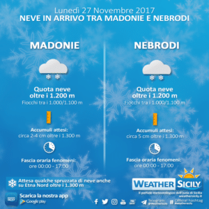 Sicilia, assaggio invernale a partire da lunedì. Prime avvisaglie domenica
