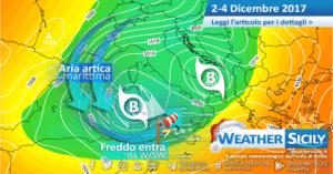 Sicilia, ritornante fredda settentrionale lunedì: ultime ore di maltempo e nuove nevicate in arrivo