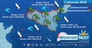 Sicilia, burrasca di Maestrale martedì con forti mareggiate. Le condizioni meteo-marine