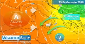 Sicilia, l'alta pressione fugge. Nubi, piovaschi e atipico Scirocco in arrivo