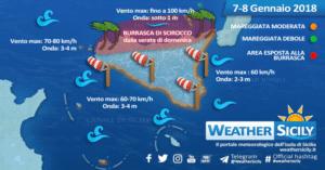 Sicilia, forte Scirocco in arrivo. Attesa burrasca sul settore tirrenico. Condizioni meteo-marine 7-8 gennaio