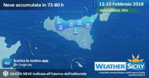 Sicilia: neve a quote più basse tra mercoledì-giovedì. Atteso il Tyrrhenian Sea Effect