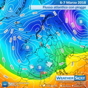 Sicilia, prosegue il flusso atlantico: piogge sparse, forti venti e lieve calo delle temperature.