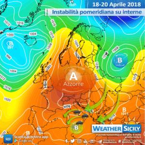 Sicilia interessata da una goccia fredda in quota: instabilità diffusa ed intensa sulle aree interne.