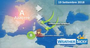 Sicilia, settimana potenzialmente instabile. Maltempo diffuso mercoledì.