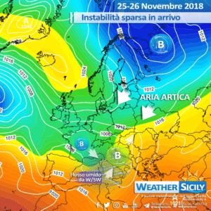 Sicilia: instabilità in aumento, forti venti e graduale calo delle temperature.