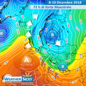Sicilia: attese 72 ore di forte Maestrale. Temperature in graduale calo.