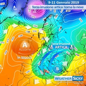 Sicilia, da venerdì sera fase clou del freddo: atteso il Tyrrhenian Sea Effect con neve sotto i 500 m.