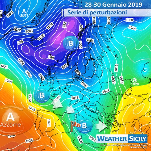 Ciclone si avvicina alla Sicilia: atteso freddo e neve in collina. Forti venti venerdì.