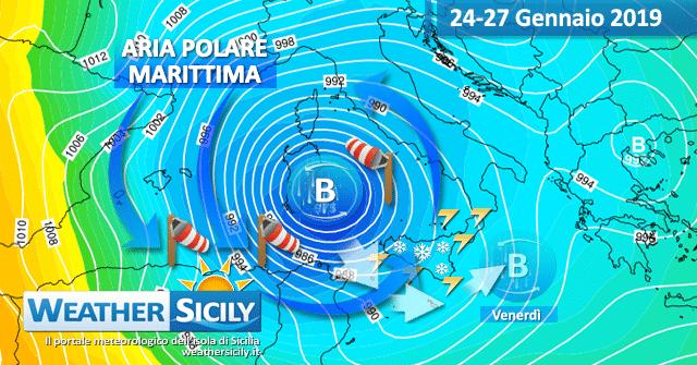 Sicilia, tendenza fredda e burrascosa per metà settimana: pre-analisi.