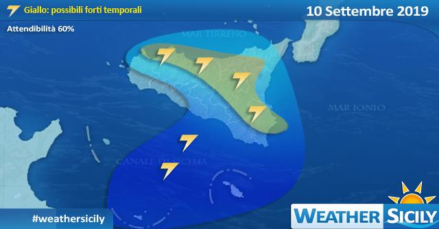 Sicilia: imminente peggioramento dal pomeriggio. Rischio forti temporali.