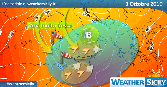 Sicilia: weekend fresco, localmente instabile su tirreniche.