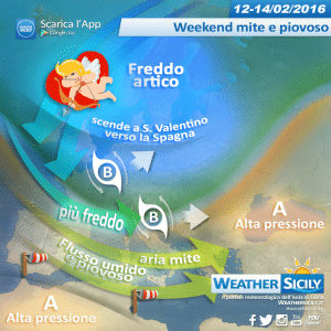 Weekend di S. Valentino mite e piovoso in Sicilia. Temperature autunnali, localmente fuori media