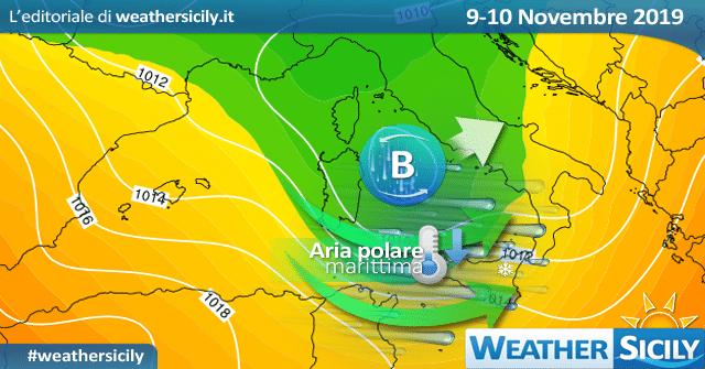 Meteo Sicilia: calo termico sabato per aria polare. Maltempo sparso e forti venti.