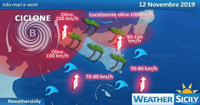 Sicilia, martedì attesa tempesta di Ostro. Venti anche oltre i 100 km/h.