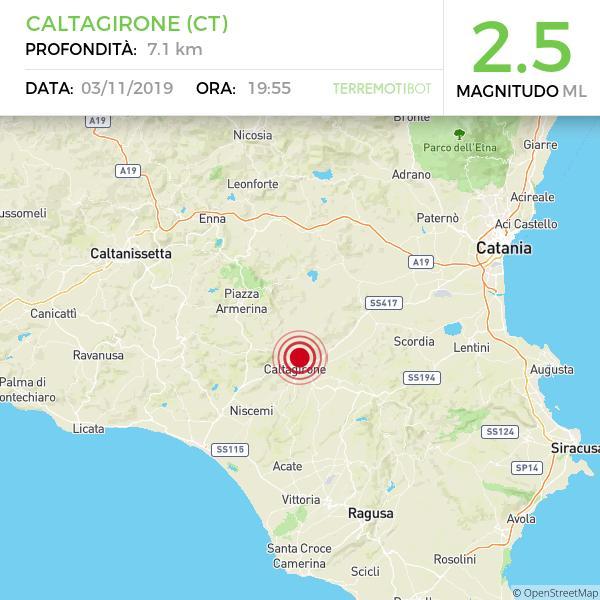 Sicilia, scossa di terremoto nei pressi di Caltagirone.