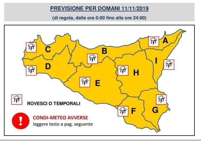 Sicilia: lunedì allerta meteo arancione su tutta la regione.