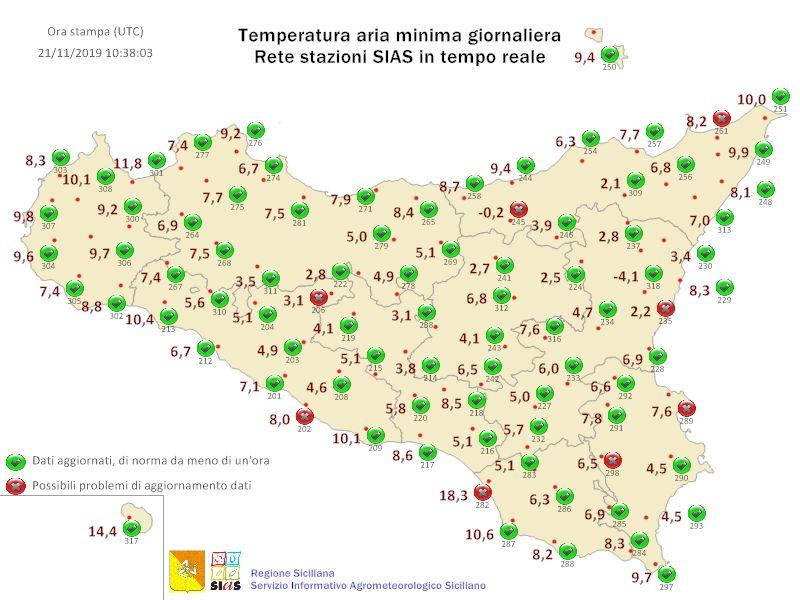 Sicilia: molte minime ad una cifra in nottata!