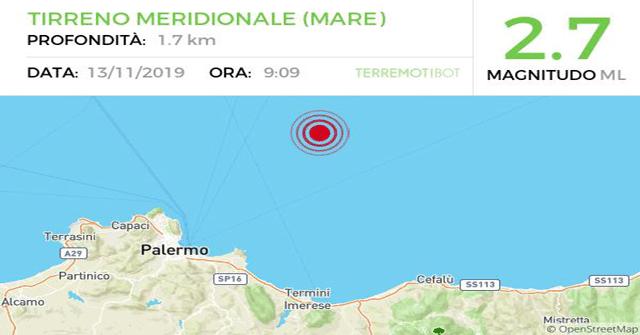 Scossa di terremoto 2.7 di fronte la costa palermitana, sul basso Tirreno.