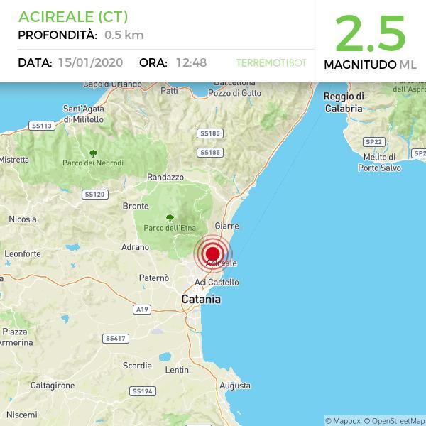Sicilia: scossa di terremoto 2.5 ad Acireale. Sisma avvertito dalla popolazione.