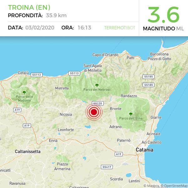 Terremoto: serie di scosse nell'ennese. La più forte è di 3.6 a Troina.