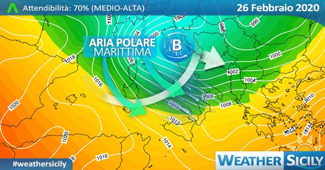 Sicilia, imminente crollo termico: attesi forti venti e qualche pioggia/nevicata.