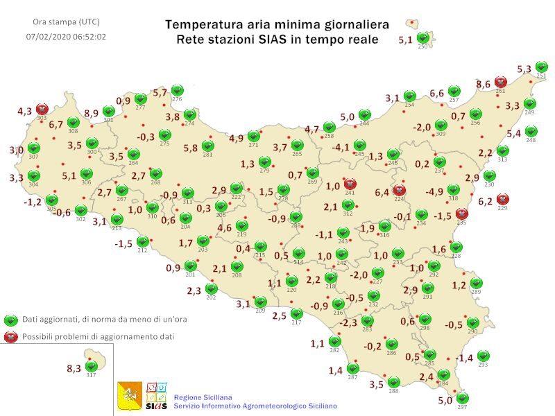 Sicilia: registrate temperature gelide in nottata.