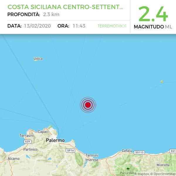 Scossa di terremoto davanti la costa palermitana