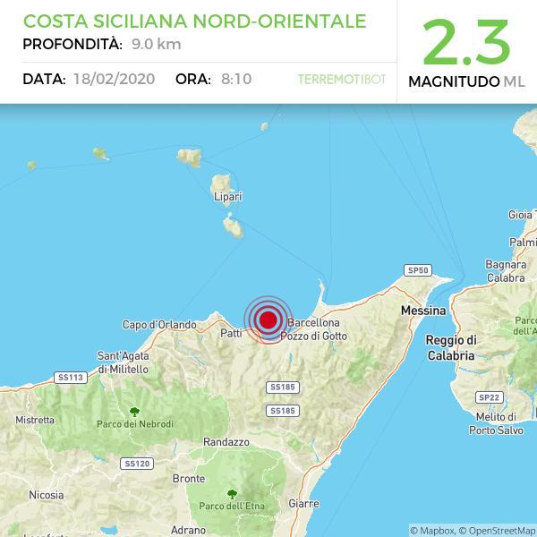 Sicilia: scossa di terremoto 2.3 al largo della costa messinese.