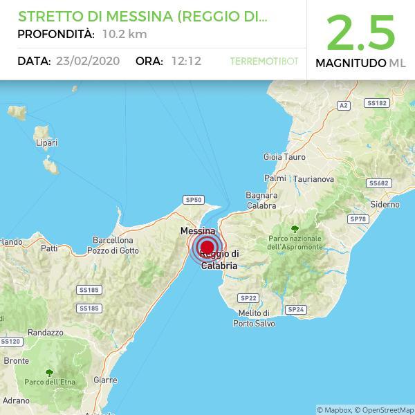 Sicilia: scossa di terremoto 2.5 nello stretto di Messina.