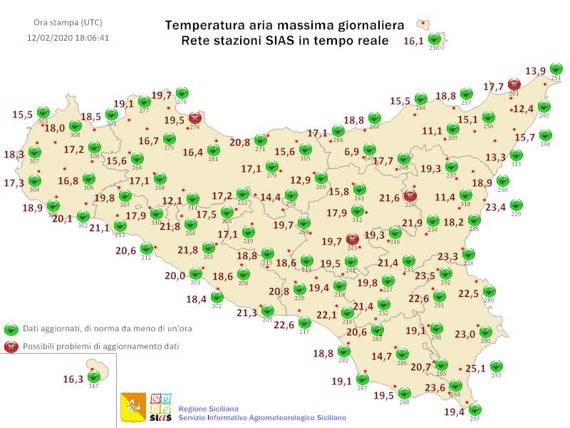 Sicilia: raggiunti 25 gradi a Noto. Lieve calo termico giovedì.