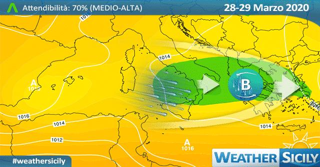 Sicilia, ciclone risale sul Tirreno: atteso più freddo, neve a quote più basse.