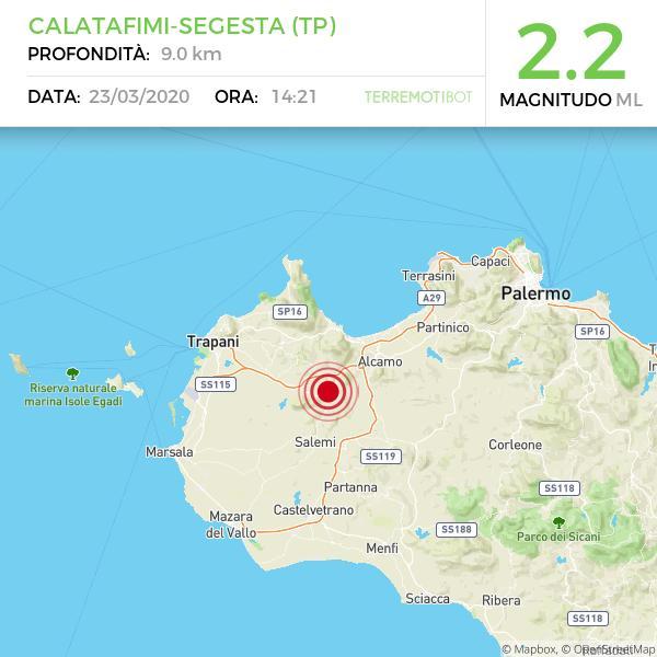 Sicilia: nuova scossa di terremoto 2.2 nei pressi di Calatafimi-Segesta.
