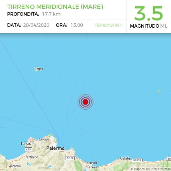 Sicilia, scossa di terremoto 3.5 al largo di Palermo.